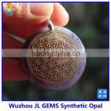 Alibaba Express Handmade Fashion Natural Quartz Amethyst Flower of Life Pendant Carved IN STOCK