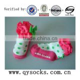 Baby cotton lace socks with lovely pattern and anti-slip bottom