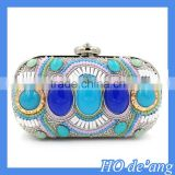 HOGIFT 2015 vintage handmade gemstone banquet bag,diamond pillow type evening bag, peacock blue clutch bag
