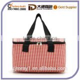 Plaid Pattern Cotton Fabric Lunch Bag Promotional Picnic Cooler Bag for Food