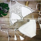 Black White Crochet Bikini Swimwear,Sexy Ladies Beach Bikini                                                                         Quality Choice