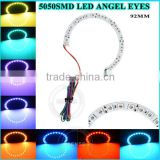 92mm RGB multicolor with remote controller 5050 smd white/black pcb led angel eyes halo ring used for japanese car accessories