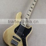 Weifang Rebon 5 string ashwood RJB electric bass guitar with wood color