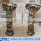 black golden floor standing granite marble pedestal basin                                                                         Quality Choice