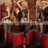 880-9 Sexy Black Gird Open Crotch Flankless Fishnet Jumpsuit Bodystocking