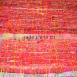 recycled sari silk fabric made from recycled sari silk yarns in bright colors suitable for use as home furnishings