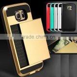 Dual Layer Armor fundas Case Luxury Soft Hybrid Slim Back cases for iphone 4 4s 5 5s 5c 6 6s Plus case cover Slide Card Cover