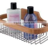 bamboo bathroom accessory caddy rack holder for shower room with stainless steel