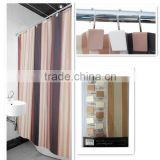 Home goods striped double swag polyester shower curtains;fashion and high quality shower curtain with hooks