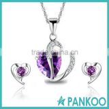 925 sterling silver jewelry set,Leaf Heart Ladies Amethyst Red Pink Blue White Crystal Heart Silver Pendant Necklace + Earring S