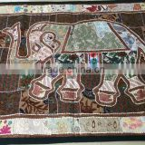 Vintage Indian Wall Hanging Decorative Elephant embroidered sequins beads mirror work