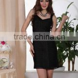 2012 Short evening dress Stripe dress Mesh evening dress Black Spaghetti Strap dress EchoLin 6622