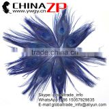 ZPDECOR Factory Bulk Sale Cheap Selling Dyed Royal Blue Trimmed Short Peacock Feathers for Earrings