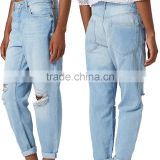 Blue distressed holes denim pants with straight leg girls sex leg jean pant dubai girl photo