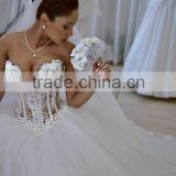 Latest Gowns Alibaba Elegant Pearls White Ball Gown ruffle Wedding Dresses Vestidos de Novia 2016 LW257