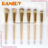 Reliable Gold Plastic Handle Synthetic Hair Cosmetic Brush 6Pcs Mini Makeup Powder Brush Set