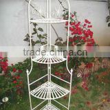 Classical Vintage Outdoor Decorative Antique White Wrought Iron Metal 4-Tires Corner Shelf