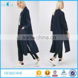 womens clothing as picture fall 2015 designer trench contrast panel duster coat LC80468-S