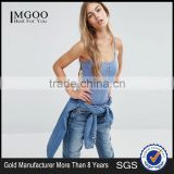 MGOO Women Rib Bodysuit With Button Detail Knitted Bodysuit With Thong Bottom Comfortable Fitness Jumpsuit