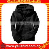 Custom comfortable fitness bulk cotton zipper casual plain 100% cotton cheap black hoodies blank for women