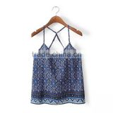 Clothing factories backless crop top vest printing women chiffon summer beach spaghetti strap tank top