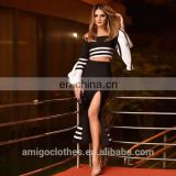 2017 new black and white strips navy style bandage dress 2pcs sets