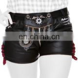 German leather shorts Oktoberfest leathershorts jail black Women Bavarian-Oktoberfest-Trachten-Short-Lederhosen-All-Size