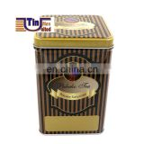 Food Grade Middle Square Cookie Tea Biscuit Glossy Tin Box