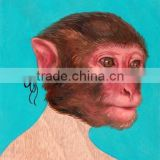 Unique Design Hot Item Low Price High Quality Handmade Monkey Oil Painting, Monkey Head on Man's Body