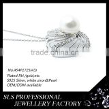 925 silver jewelry wholesale single pearl prong setting white pearl jewelry pendant