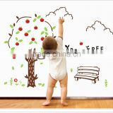Happy Apple Tree - Wall Decals Stickers Appliques Sticker Paper Removable Living Room Bedroom Art Picture DIY Mural Decoration