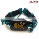 Retro Tribe bracelet, leather bracelet engraved with blue cords and black ox bone AL0008