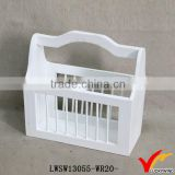 white chic fireplace coal storage vintage wooden tool basket