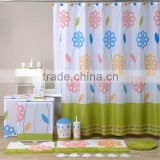 Green flower coordinate Bath set, Hot sale China factory shower curtain/bathroom mat set/PS bath accessories set