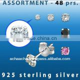 Bulk silver jewelry: 48 pairs of 925 sterling silver earring studs with round Cubic Zirconia - size 2mm - 4mm