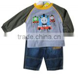 China manufacturer spring children clothes cartoon long sleeve Tee and jeans sets baby clothing set