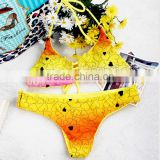 2016 new design bright color heart design reversible bikini swimwear