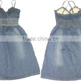 New Kids fashion design girls strapped denim skirt girls elastic jean skirt manfuacturer in China