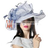 White and Black women's church wedding derby hat floral fascinator wide brim organza hats