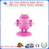 Christmas Gift Android Robot Universal USB Travel Wall Charger Adapter with Light up Eyes&Movable Arms for Smartphones