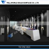 2014 modern fashionable white L shape beauty luxury bar counter designs for sale