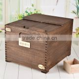Decoration wood corners heavy toast color solid wood rice storage box