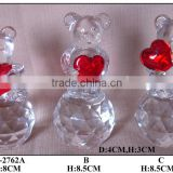 glass bear with red heart decoration crystal craft