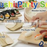 japanese kitchenware sushi party set made in japan pro sushi tong bamboo mat spatula wooden bucket hand fan set