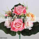 32cm Artificial Satin Rose/ Carnation/ Mini Flowers/ Plastic Grass Bush x13 With 3 Leaves