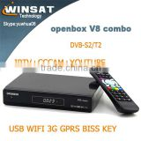 1080P HD satellite receiver DVB-S2/T2 twin tuner sharing V8 combo indian channels iptv set top box