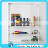 Wholesale wall-mounted plexiglass storage cabinet/ hanging acrylic display shelf for stationery