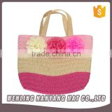 Girls Woven Straw Flowers Casual Beach Tote Shoulder Women Handbag