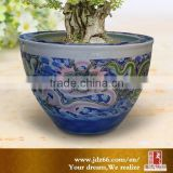Modern design excellent quality engraved dragon hand painted ceramic pottery big vat for decoration