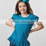 2016 Hot Selling Girls T-Shirts With Dark Ocean Ruffle Crewneck Girl Tees Child Clothing GT90420-74